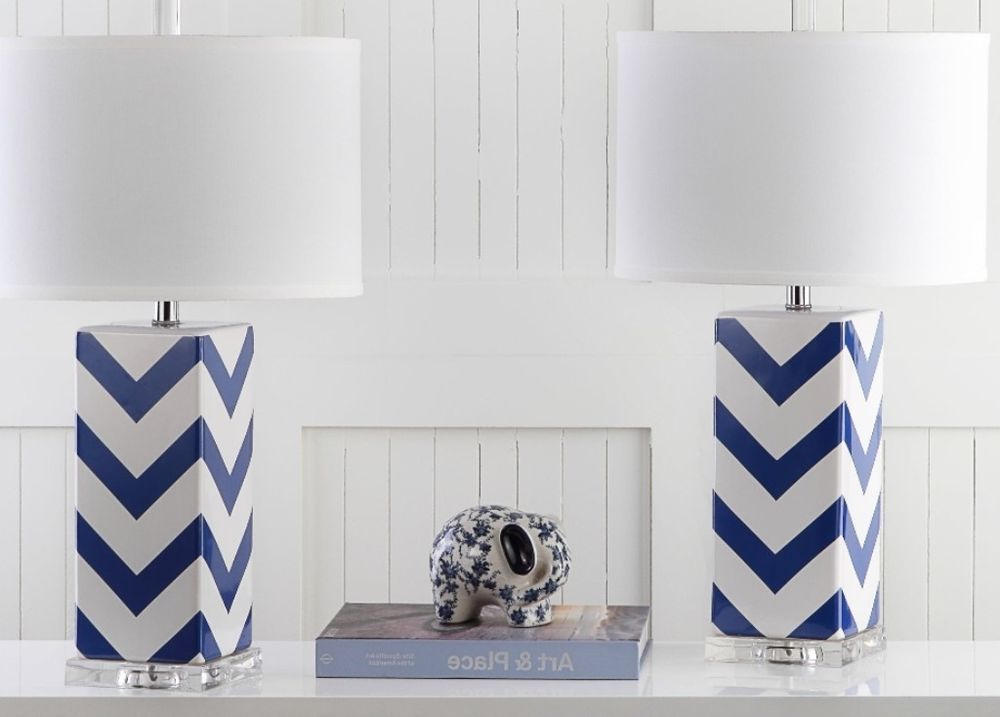 Navy Zigzag Chevron Stripe Table Lamp Set Of Two Transitional Home Office Decor Tablelamp
