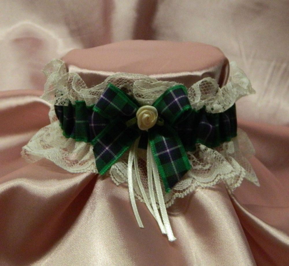 Scottish Wedding = SCOTTISH TARTAN RIBBON WITH LACE GARTER