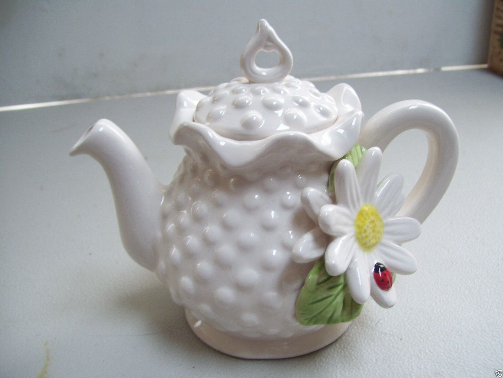 RARE Antique Teapot White Hobnail with Love Bug on Sun