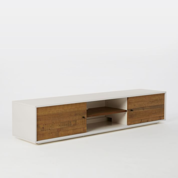 Reclaimed Wood Lacquer Media Console 80 In 2020 Wood Media Console Media Console Modern Media Console