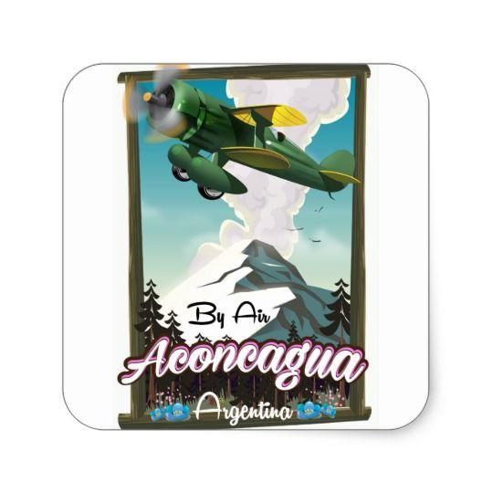 Aconcagua -Argentina vintage flight poster print. Square Sticker