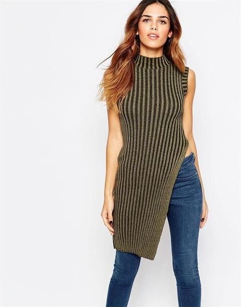 d328f04537 Women's Long Turtleneck Sleeveless Knitwear Striped Thin Cut Half Open  Sweater - 2 Colors