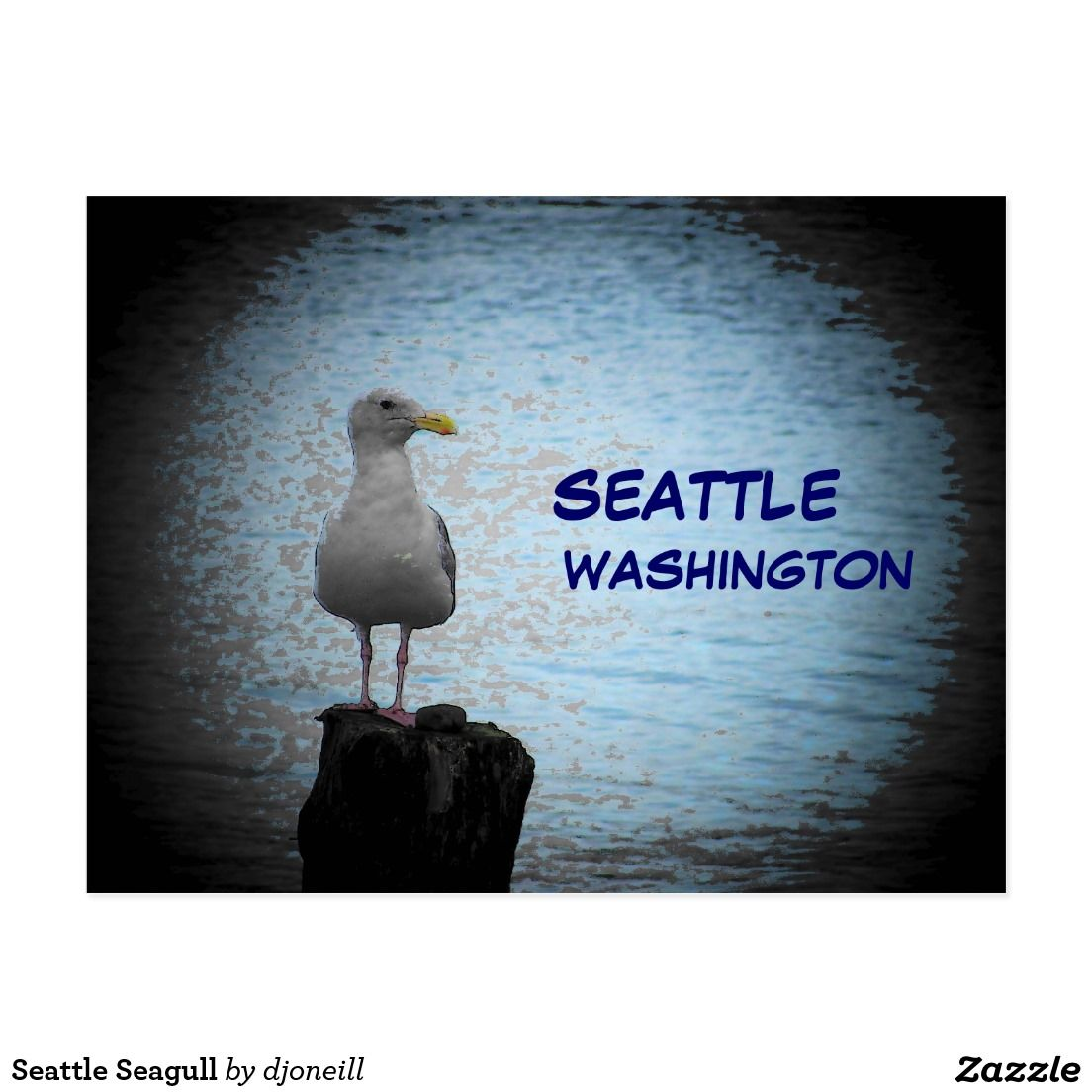 Seattle Seagull Postcard. From Washington State in the Beautiful Pacific Northwest, Seattle sits on the Puget Sound that opens into the Pacific Ocean. West coast life and natural beauty!  Home of the Seahawks, Mariners, and Sounders FC.