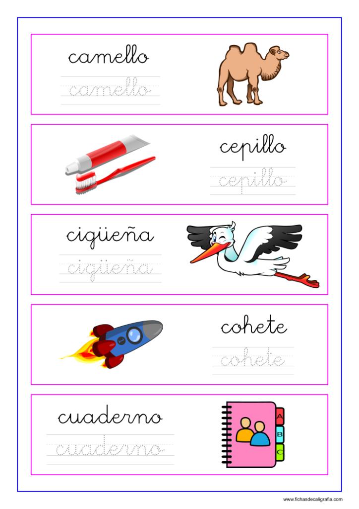 Caligrafia Con Palabras Y Dibujos Con La Letra C Letra C Actividades Del Alfabeto En Preescolar Letras Cursivas