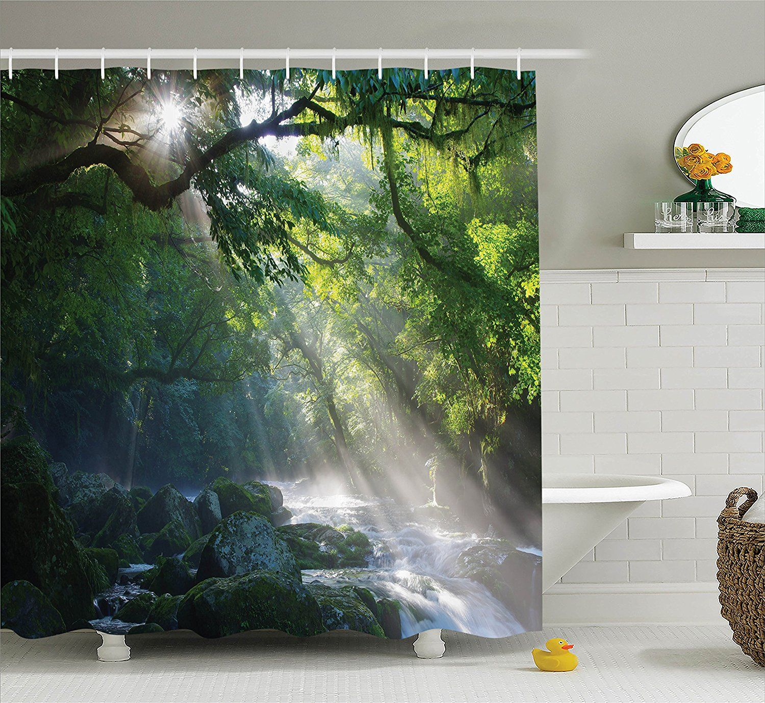 Rainforest shower curtain - Amazon Com Rainforest Decorations Shower Curtain Set By Ambesonne Stream In The Jungle