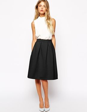 Enlarge Vila Quilted A Line Midi Skirt | Skirt the Rules ...
