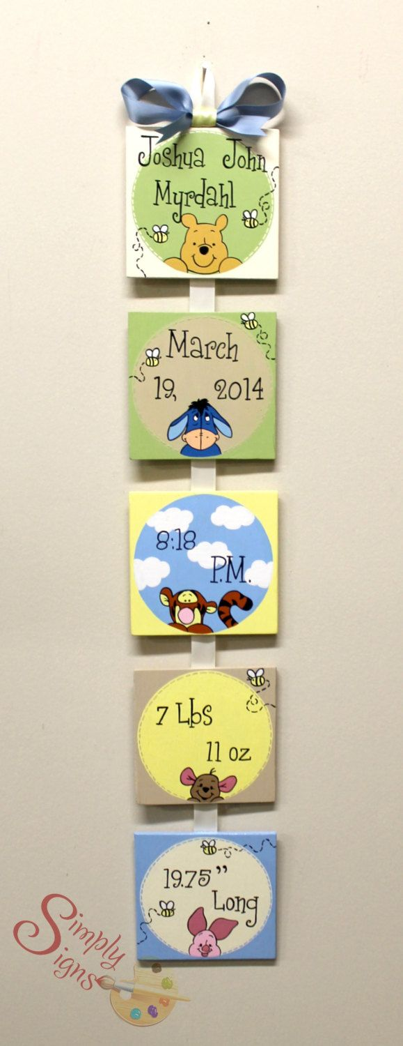Winnie the Pooh Nursery hand painted hanging birth announcement ...