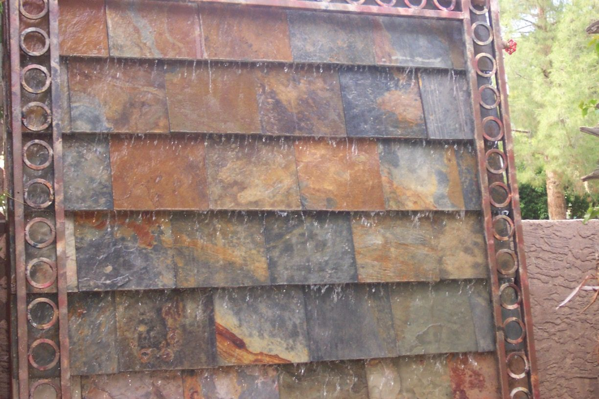 Water Feature Slate Tiles With Iron Frame Made From