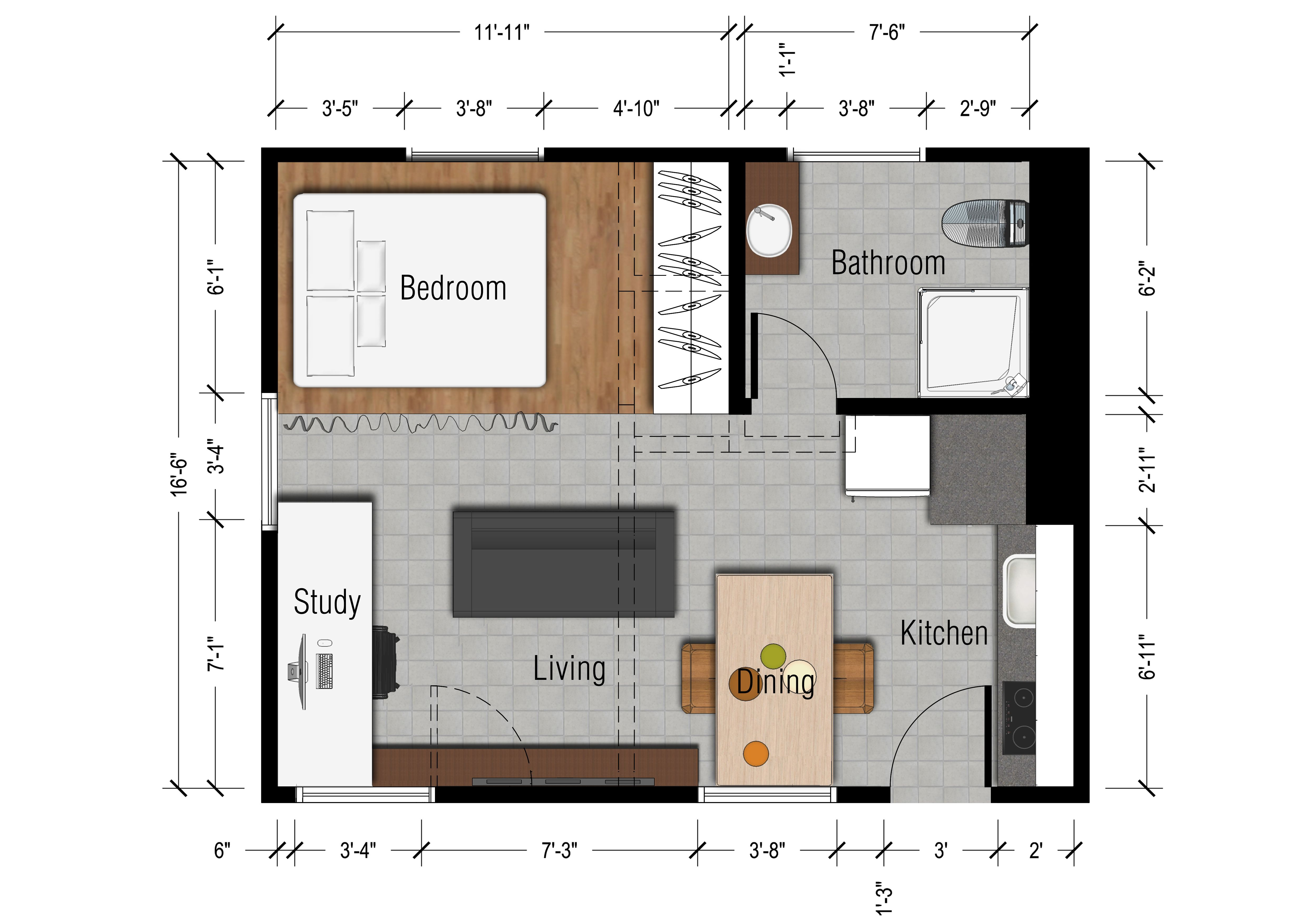 Studio apartments floor plan 300 square feet location for Small apartment arrangement ideas