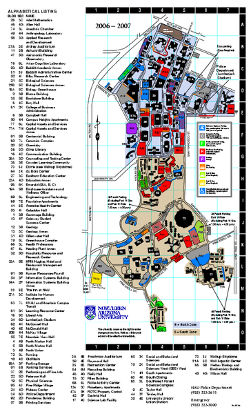 Northern Arizona University Campus Map Northern Arizona University