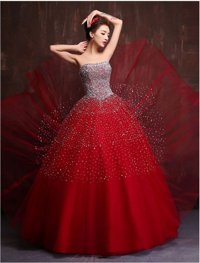 Strapless Sequin Princess Ball Gown | Vintage Style Prom Dresses ...