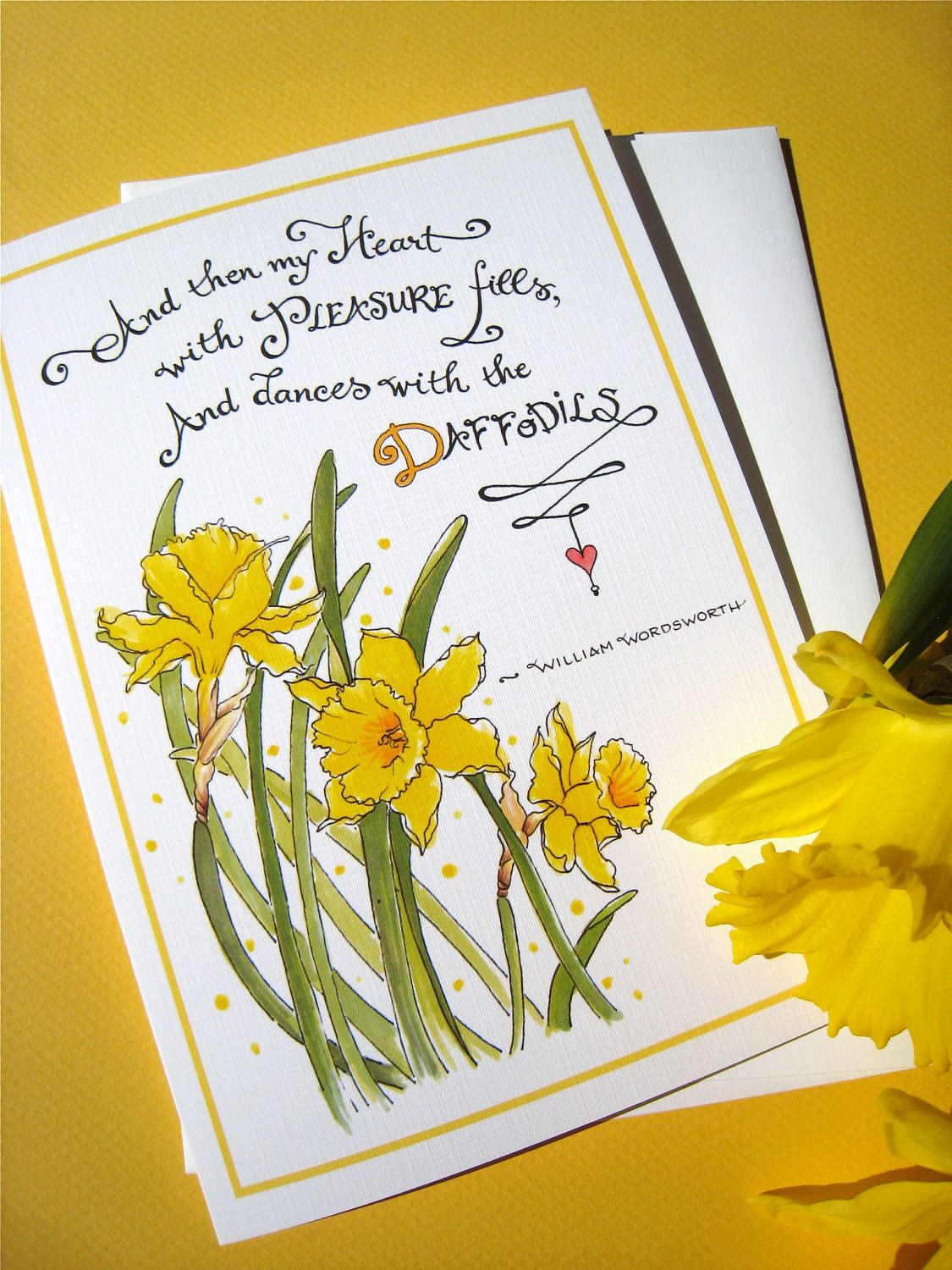 Inspirational Card Encouragement Get Well Literary Etsy In 2020 Daffodils I Wandered Lonely A Cloud Daffodil Symbol