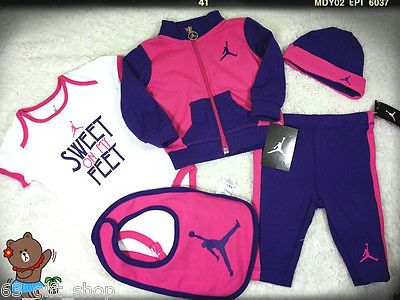 8fa3ec5e1767 NWT 5 PC NIKE JORDAN BABY GIRLS PURPLE JACKET PANTS TOP BIB HAT SET 9 12 MON