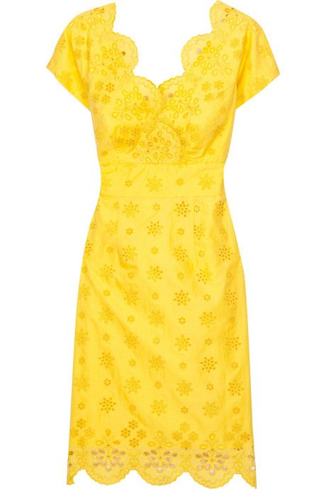 5a9cc92b10 Milly bright yellow cotton cap sleeve dress with eyelet embroidery ...