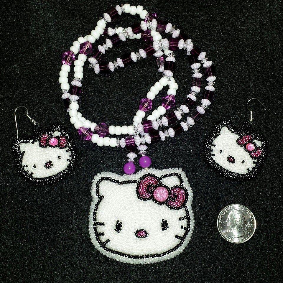 58a7c9b22 Hello Kitty medallion necklace with earrings   My Beadwork   Beaded ...