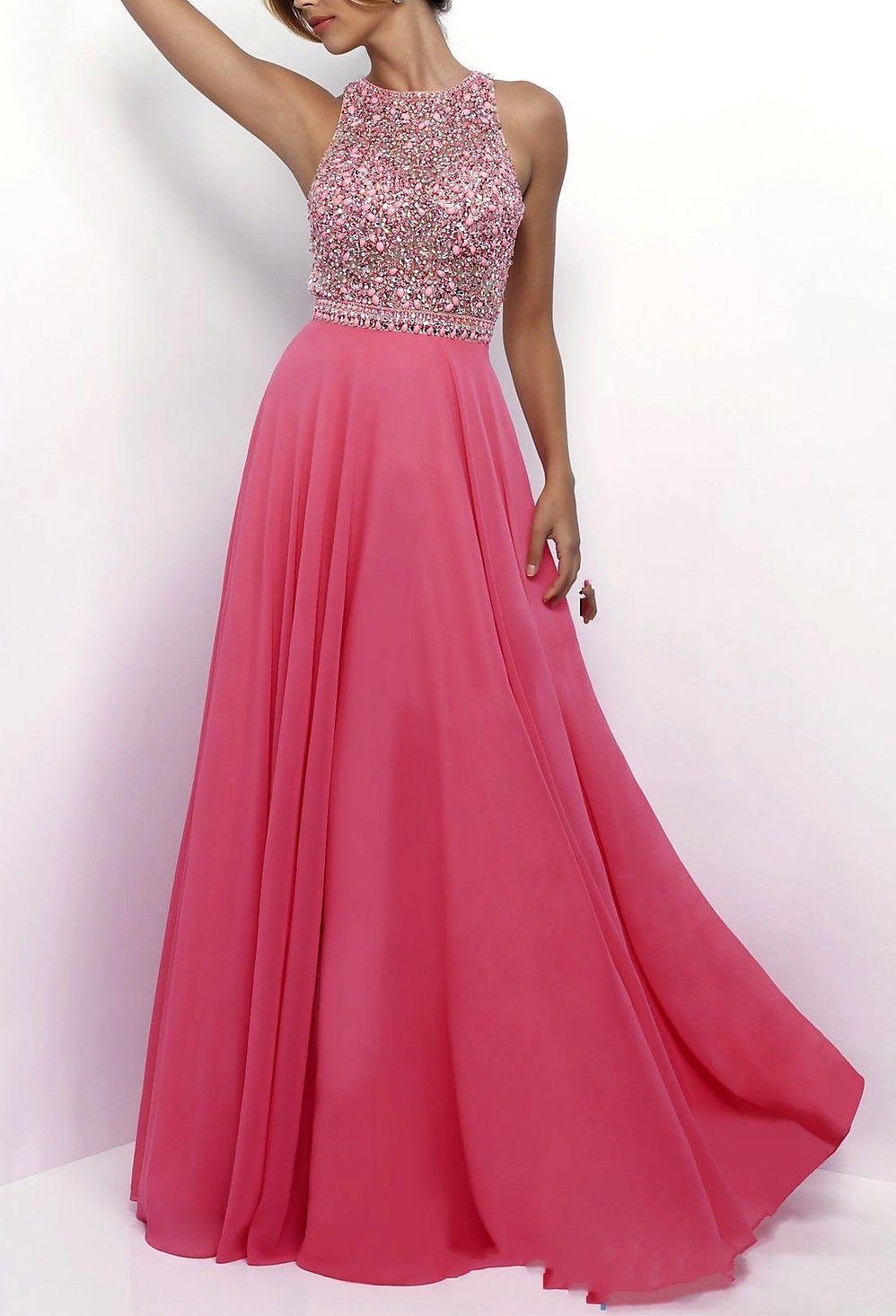 Alle Kleider abitur kleider : Hohe Qualität Eine Linie Rosa Chiffon Open Back Perlen Top Prom ...