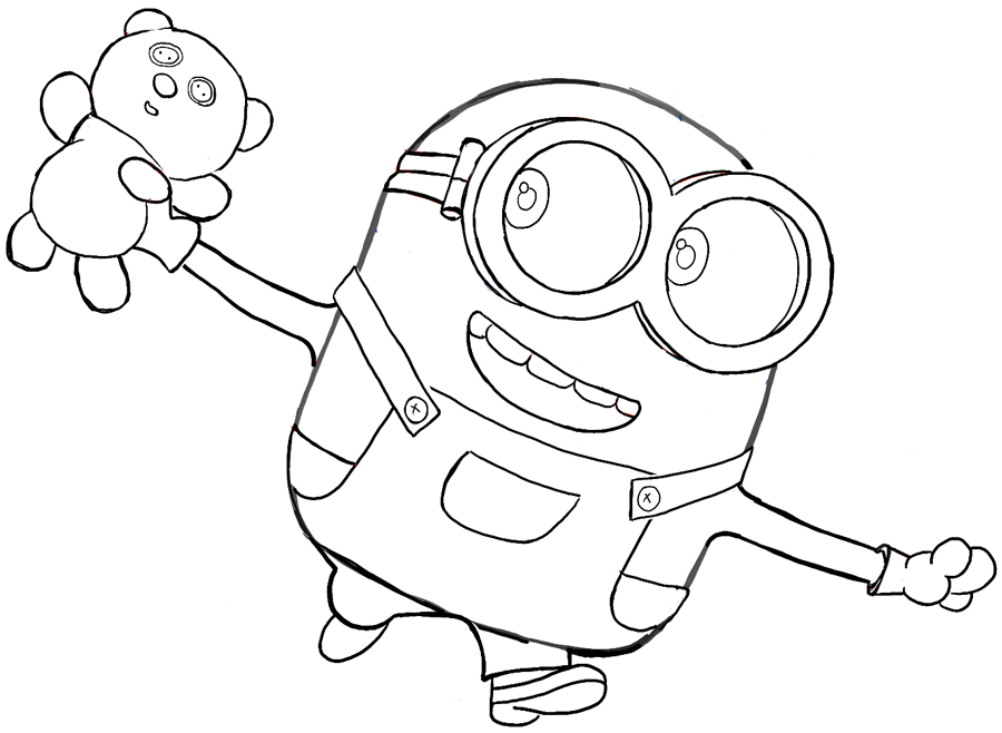 How To Draw Bob The Minion With A Teddy Bear From Minions Movie 2015