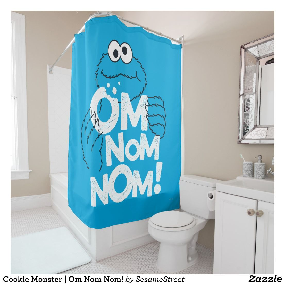 Cookie Monster Om Nom Nom Shower Curtain Perfect Gifts For The
