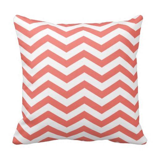 Chic Chevron Coral Throw Pillow Zazzle Com Coral Pillows White Throw Pillows Coral Throw Pillows