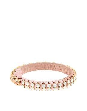 Paula Bianco 'Romantic Embellishment' Blush Pink Satin Wrapped Metal Bangle With Crystal Detailing