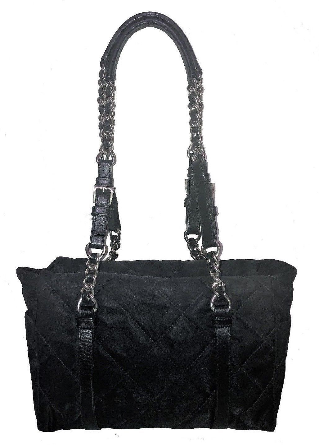 1ee663fc4c83 Authentic PRADA Black Quilted Nylon Shoulder Bag Chain Leather Straps Zip  Tote