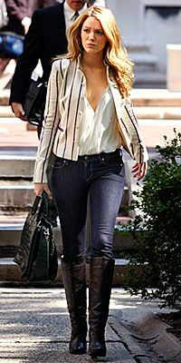 Jacket, rampage.com  Alice + Olivia button down shirt, singer22.com  Celine bag, bluefly.com  Rich & Skinny jeans, shopbop.com  Michael Kors boots, bluefly.com