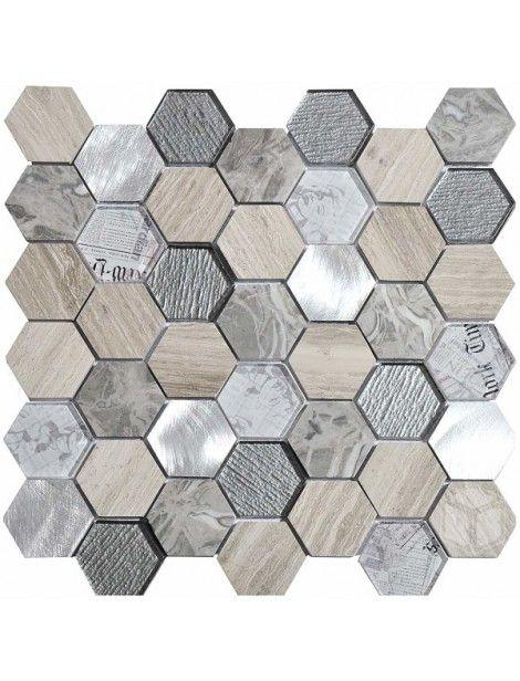 Hexagon Tour 2x2 Grey Glass And Marble Mosaic Tile Hexagon Tile