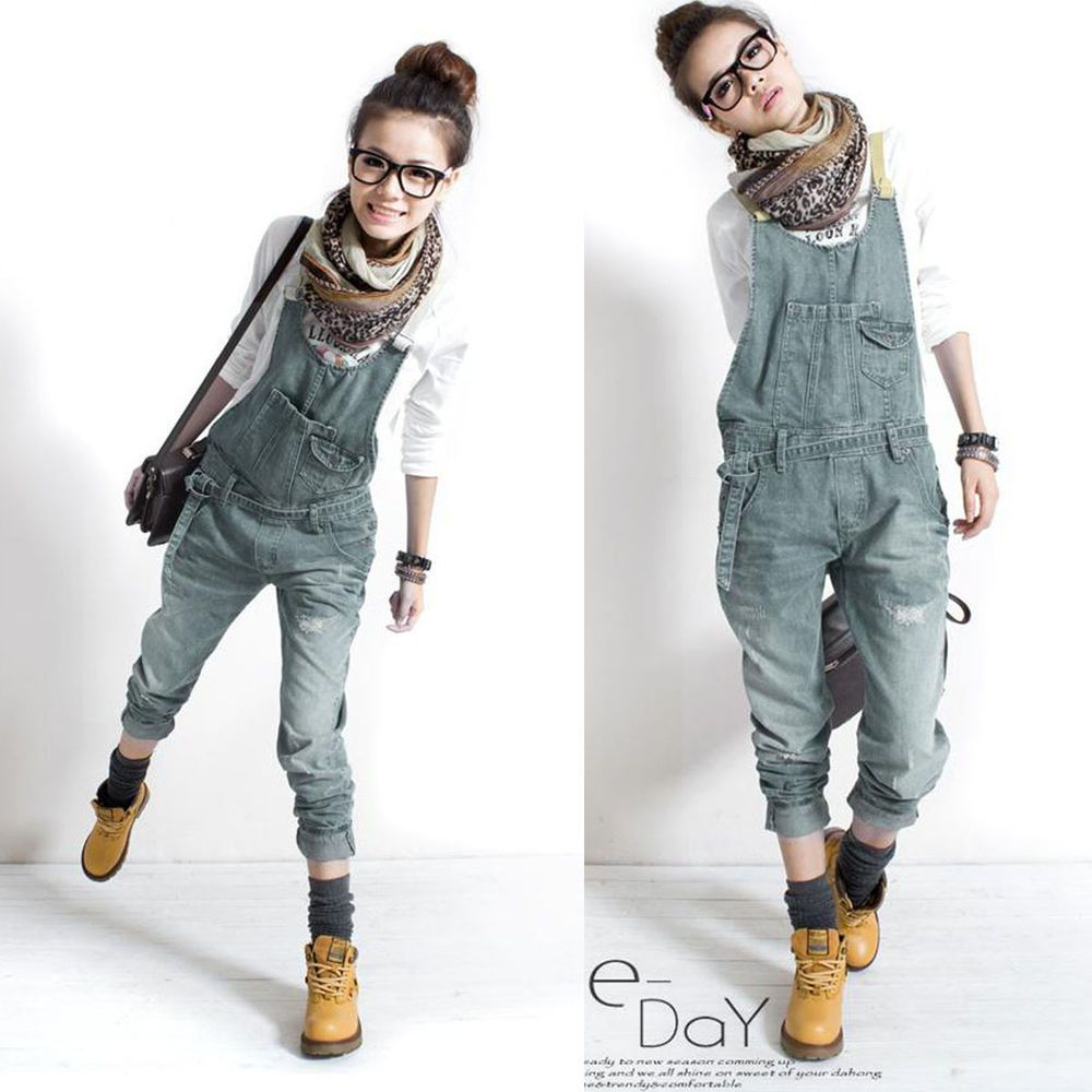 Korean flannel outfits  Fashion Korean Womens Overalls Denim Casual Siamese Trousers Harem