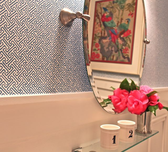 Bathroom Mirror Java the wallpaper is quadrille/china seas java java in navy on white