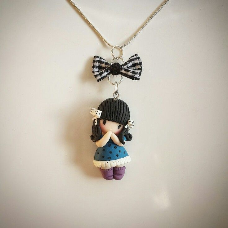 Gorjuss inspired polymer clay chibi doll pendant by Ruby creations. Follow me on facebook: https://m.facebook.com/profile.php?id=1441357136106288&_rdr