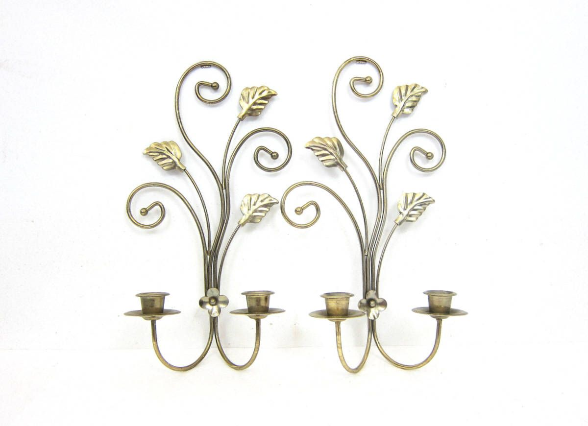 Gold candlesticks metal hanging candle holders pair of wall gold candlesticks metal hanging candle holders pair of wall candelabras gold tone metal home decor wall arubaitofo Images