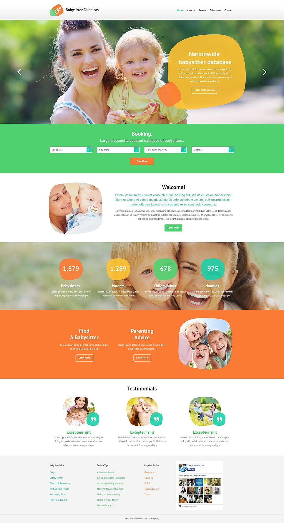 Babysitter Directory Website Template, #Ad #Directory #Babysitter #Template #Website - Website template, Website template design, Education wordpress themes - 웹