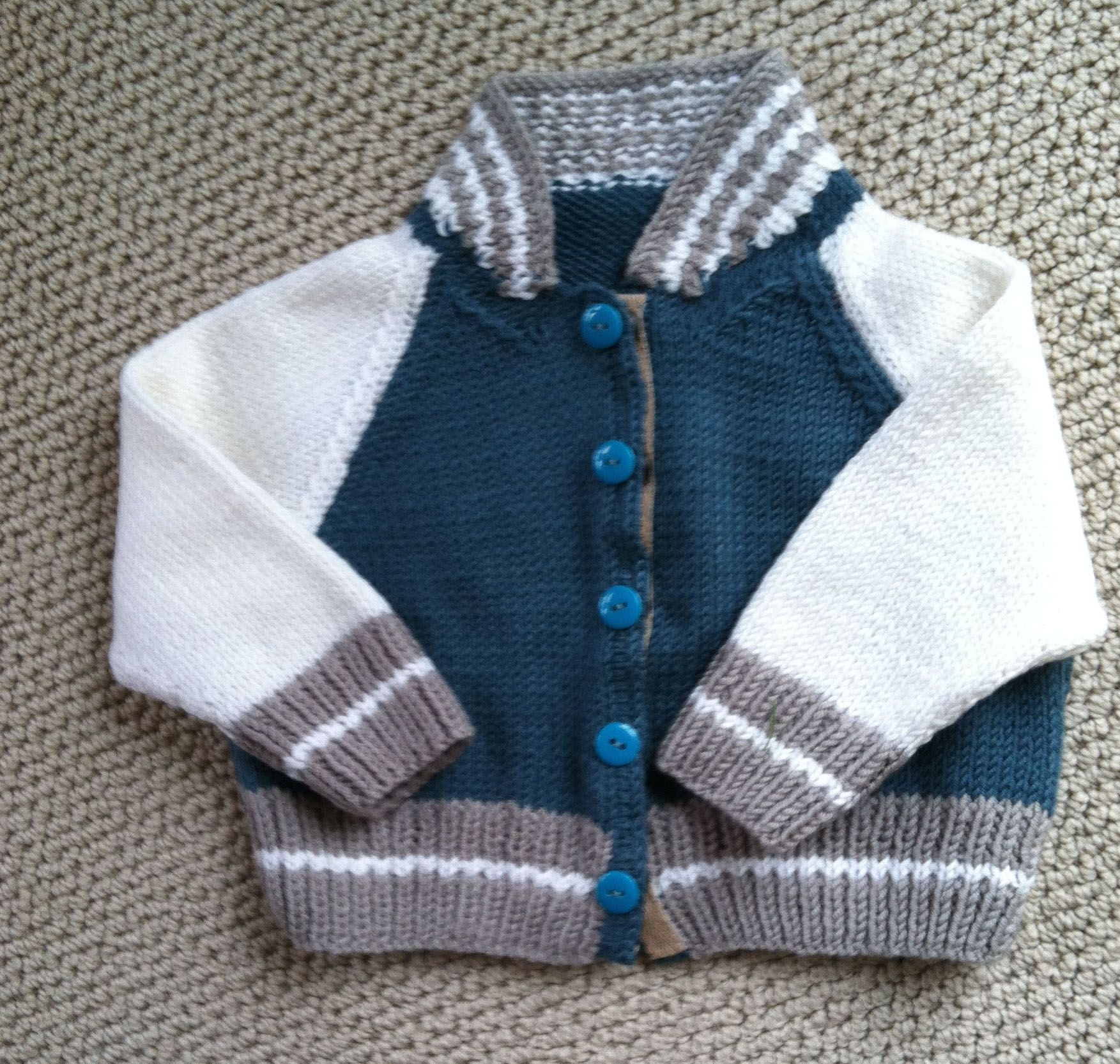 Knitted baseball sweater for Baby Steele 8a691fee1035