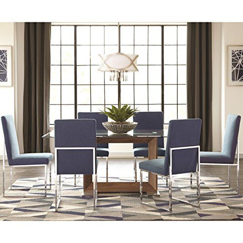 A Line Furniture Modern Floating Design Glass Top Dining Set With