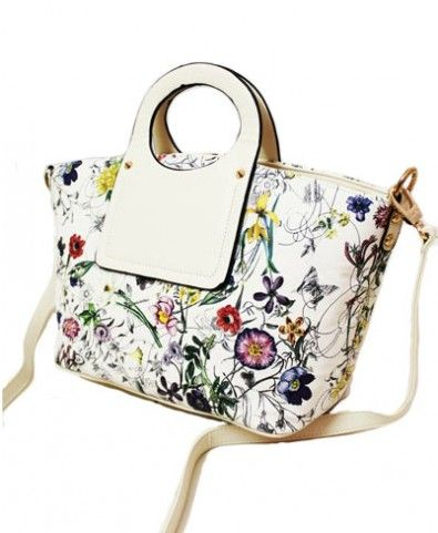 Flowers Printed PU Leather Tote Bag - Bags - Bags & Accessories