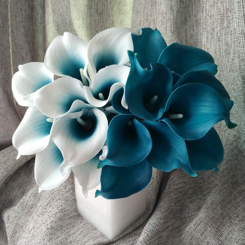 Latex wedding dress   Real Touch Calla Lily Teal Latex Calla Lilies Teal Blue Wedding