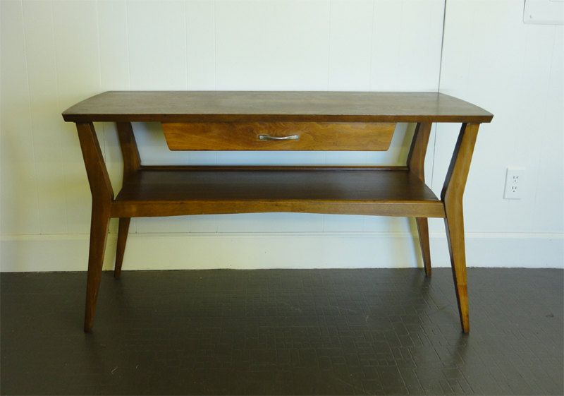 mid century modern mersman media console sofa table entry table