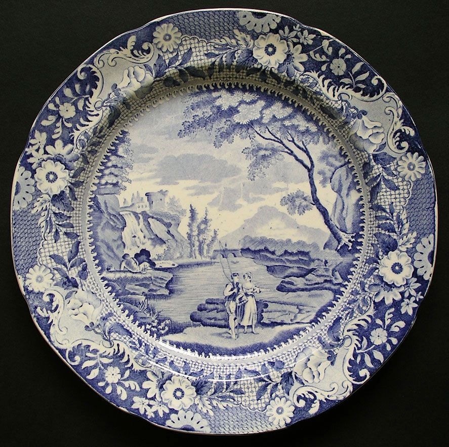 Blue And White Plates rockingham yorkshire brameld pattern castle of rochefort blue and