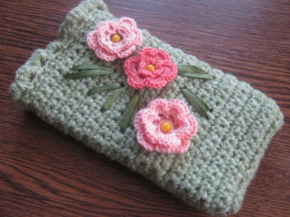 Green Phone Case With Flowers Iphone Case Crochet Phone Case