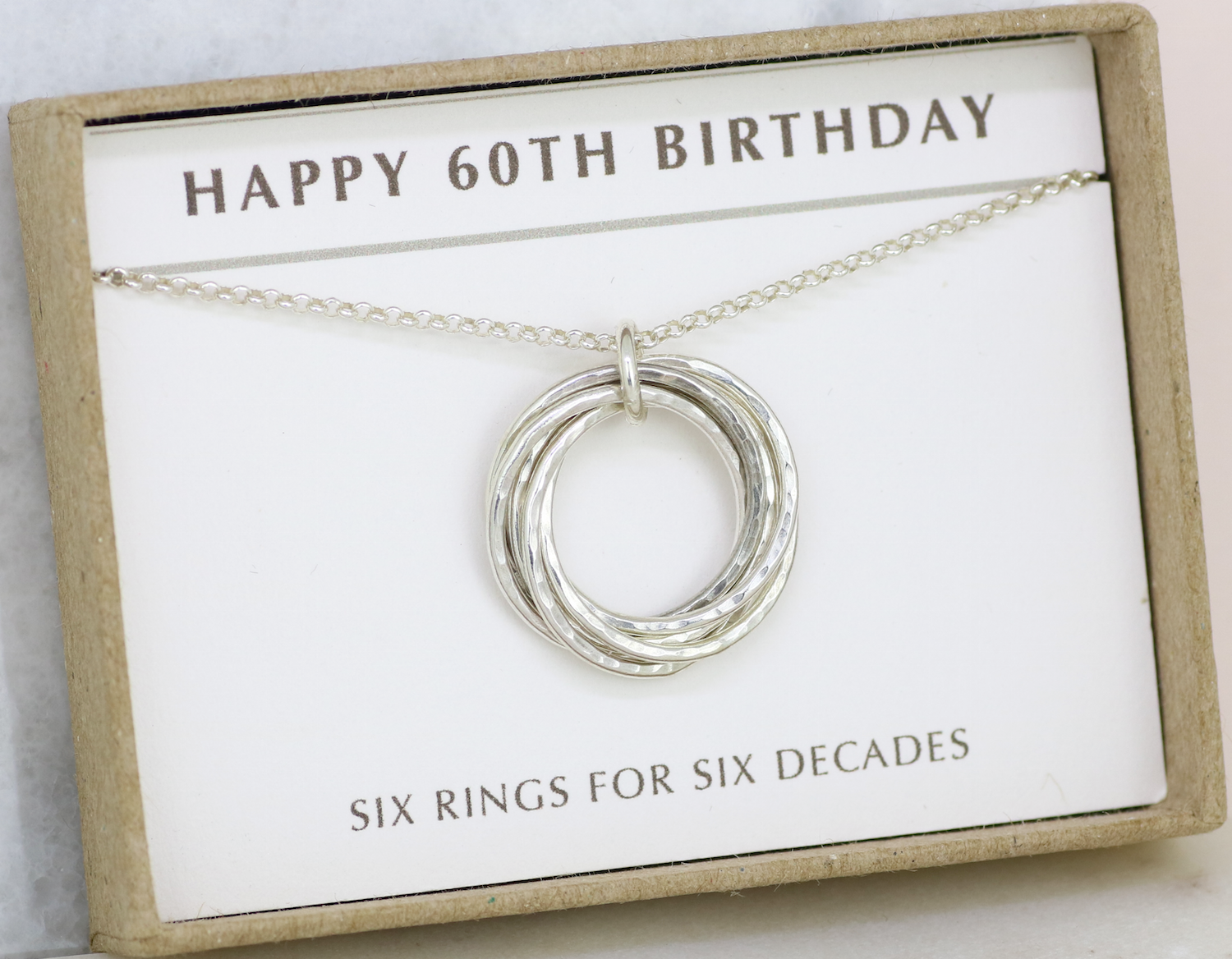 60th Birthday Silver Necklace 6 Rings For 6 Decades In