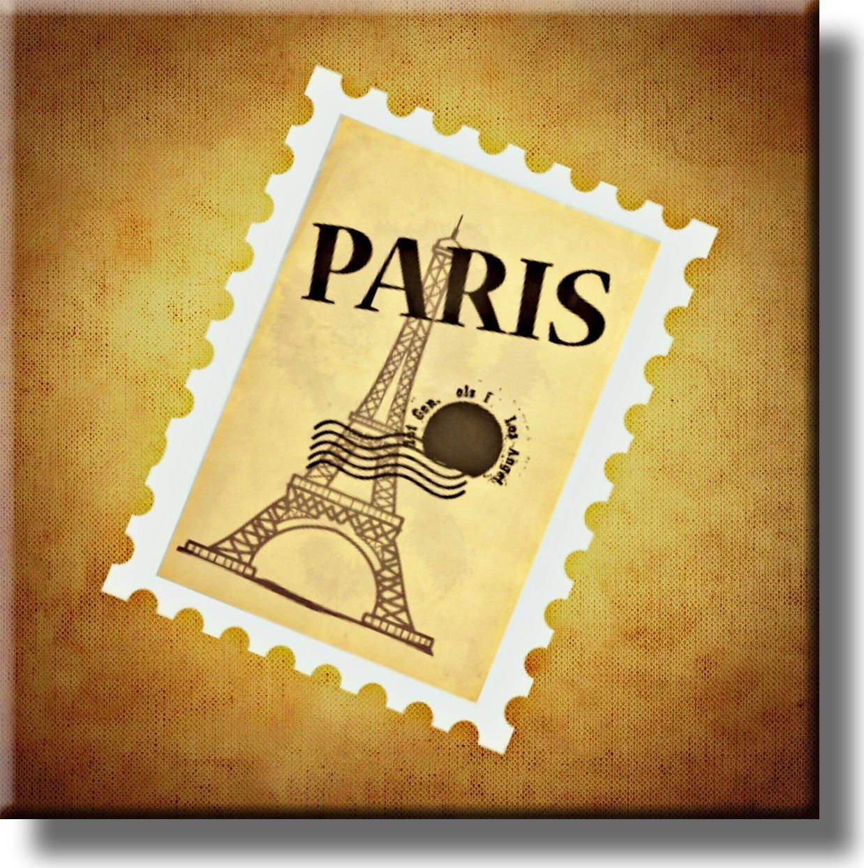 Eiffel Tower Stamp Picture on Stretched Canvas, Wall Art Décor ...