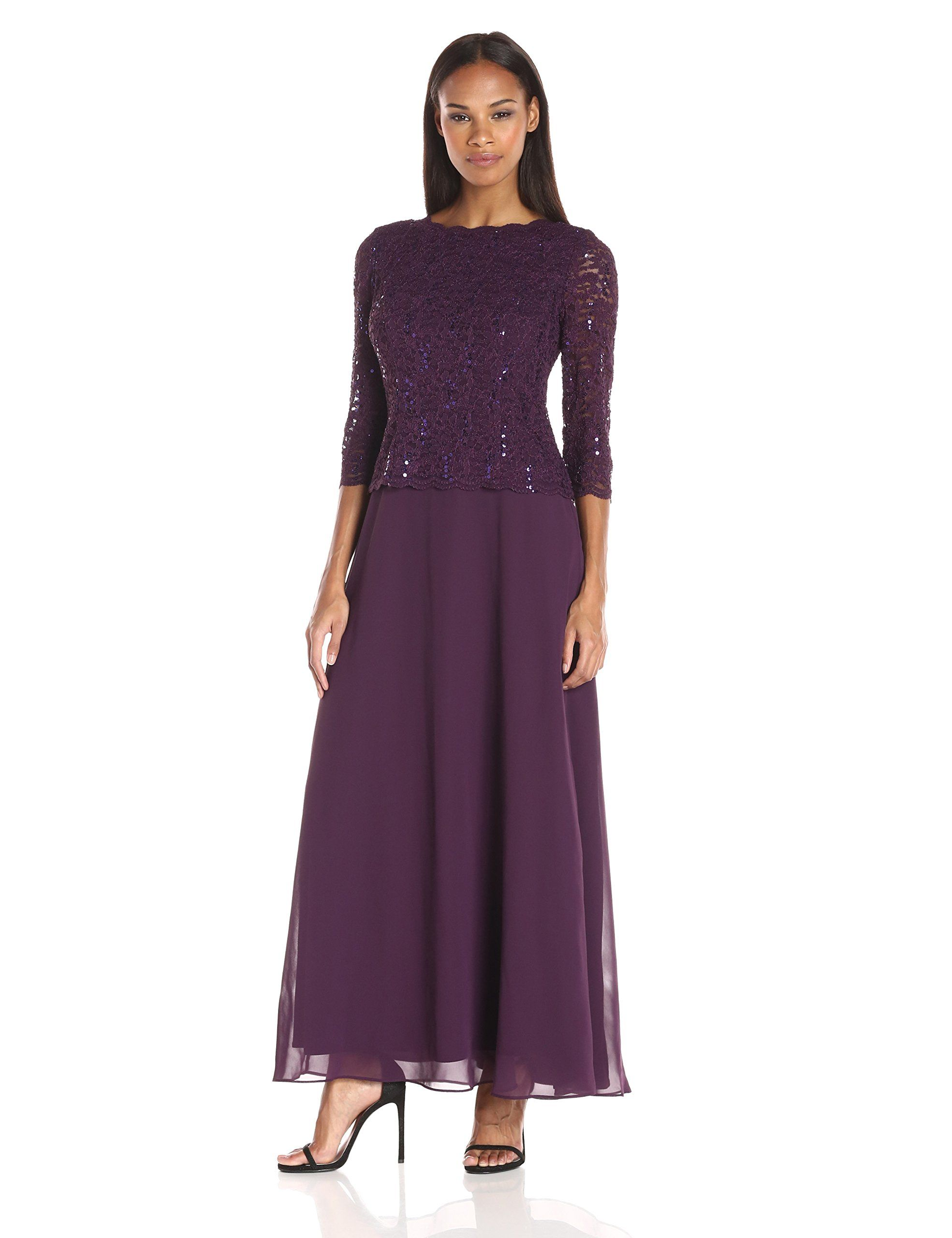 ce37cb12ec8 Alex Evenings Women s Long Mock Dress with Bodice and Illusion 3 4 Sleeves