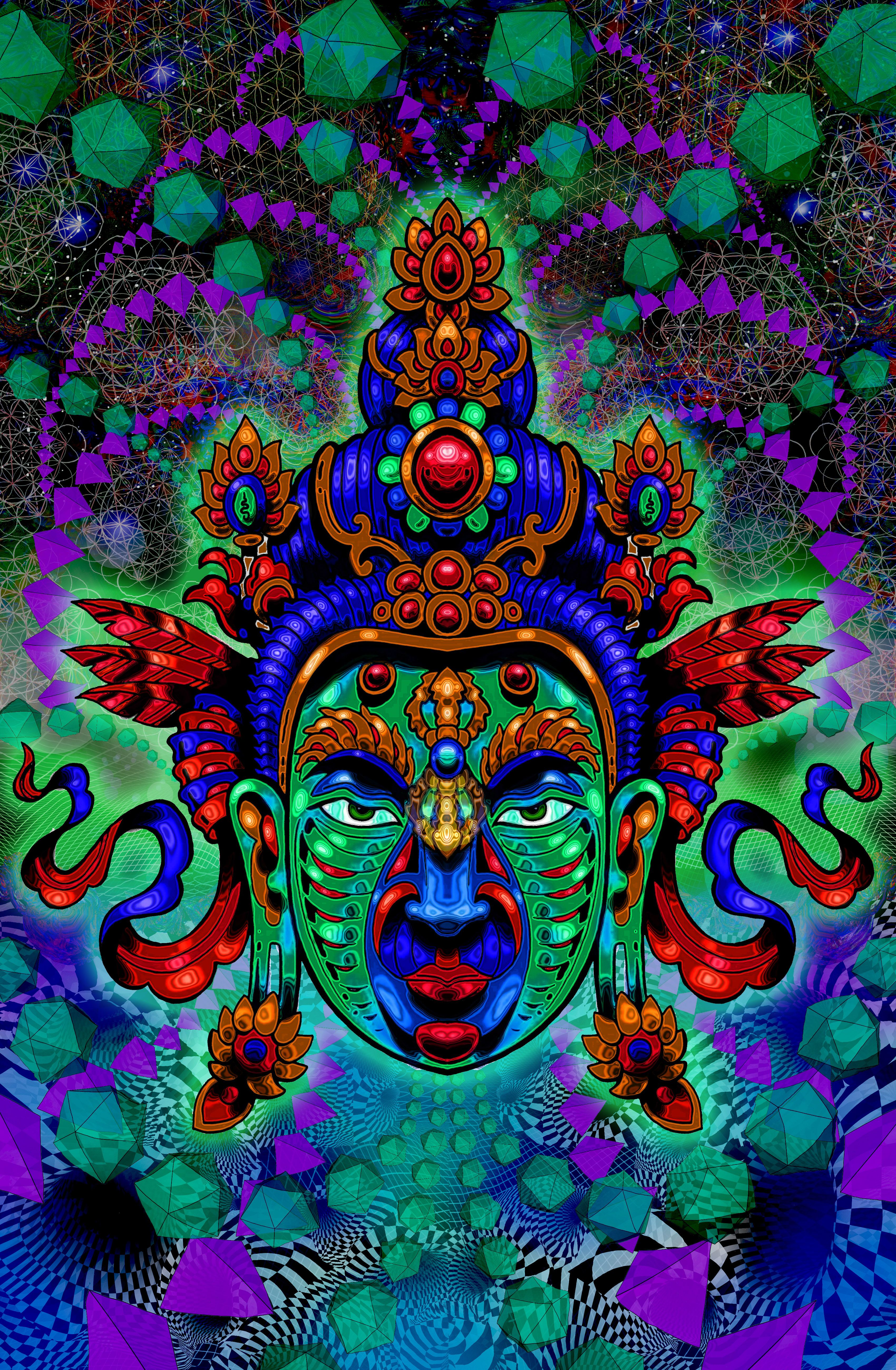 BUDDHA TRIPPY POSTER ABSTRACT PSYCHEDELIC ART POSTER WALL PRINT LARGE GIANT