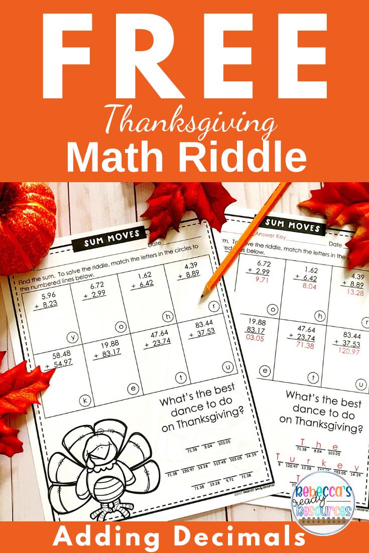 Thanksgiving Math Riddle Adding Decimals Freebie Math Riddles Adding Decimals Math