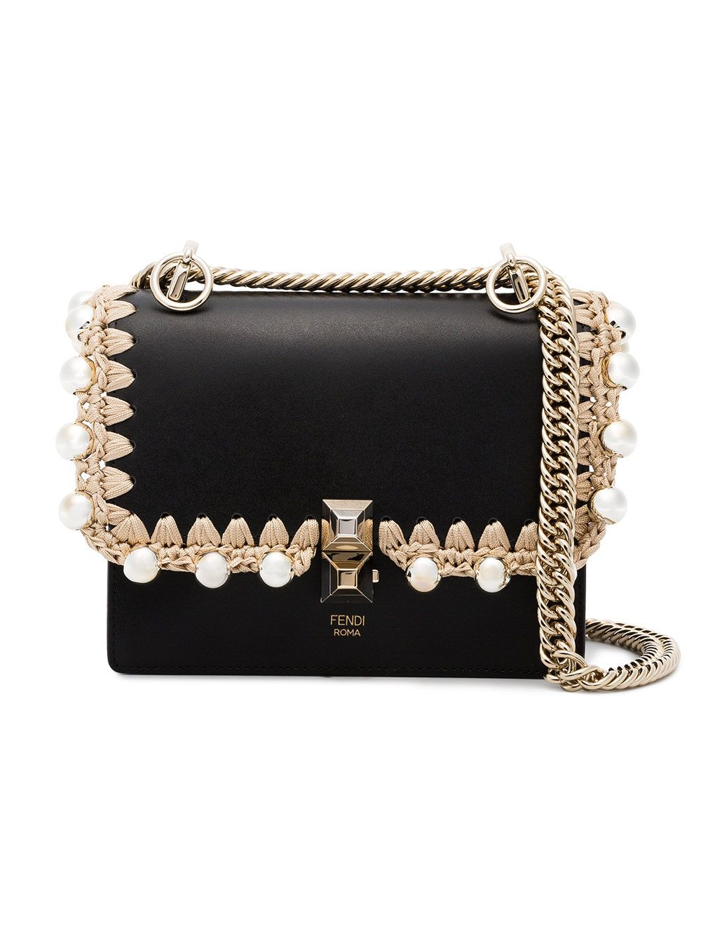 Black Kan I small leather bag with crochet trim Fendi aQzKH