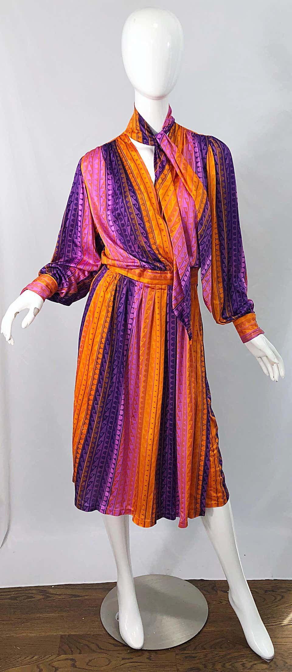 1970s Pink Orange Purple Striped Slinky Vintage 70s Scarf Wrap Dress Knit Cocktail Dress Jersey Wrap Dress Wrap Dress [ 2209 x 960 Pixel ]
