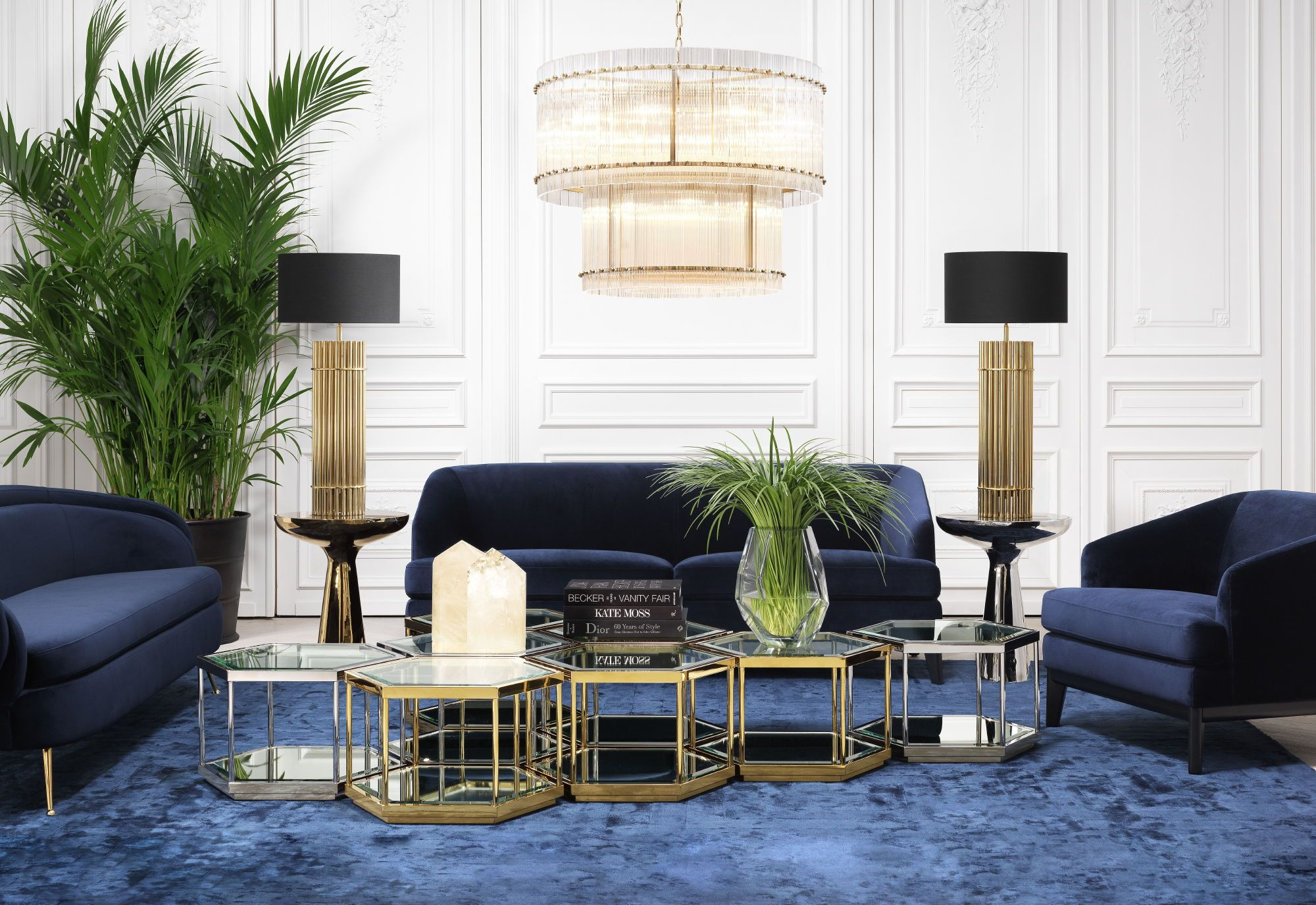 Art Deco Living Room With Gold Accents And Royal Blue Rug And Sofa Luxury Furniture Living Room Blue Living Room Decor Living Room Sets Furniture