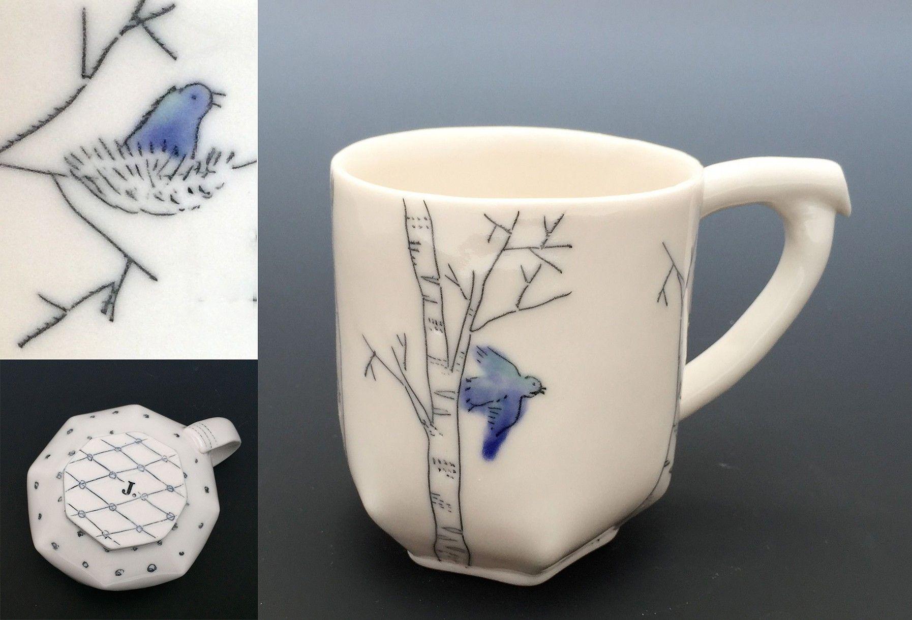 Bluebird/Birch Mug with details