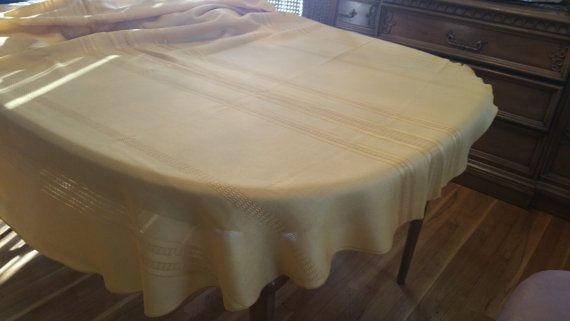 Vintage Solid Gold Linen Oval Shaped Tablecloth, Striped, Christmas  Tablecloth, Holiday Tablecloth,
