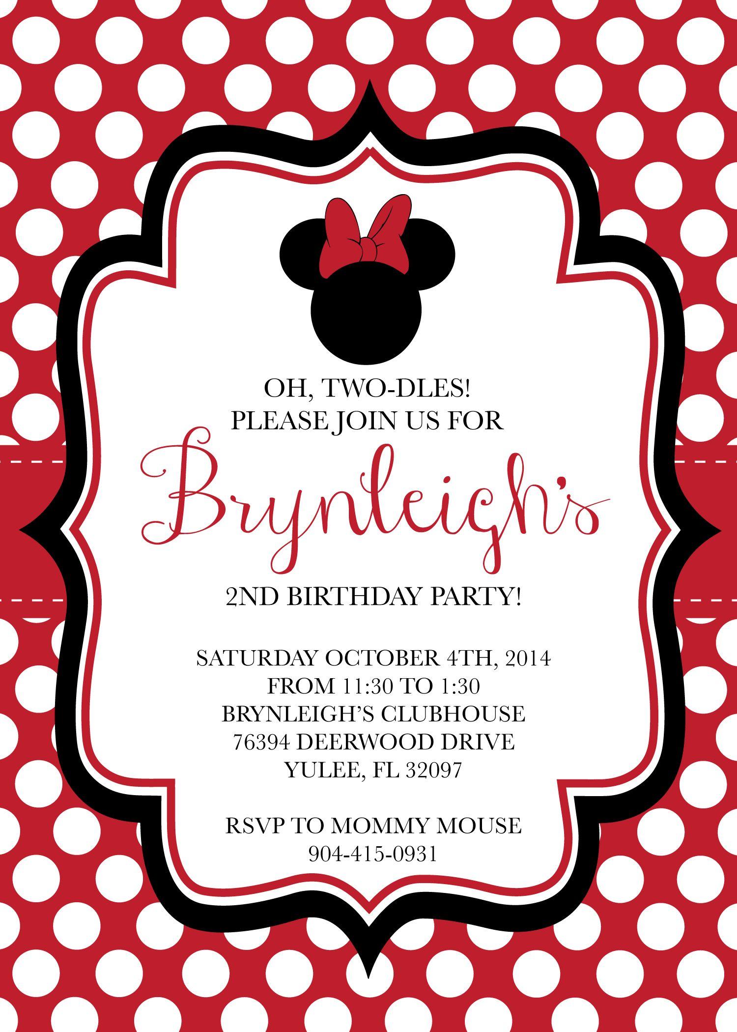 Red Minnie Invite Brynleigh's Minnie Mouse 2nd Birthday Pinterest Cumpleaños minnie